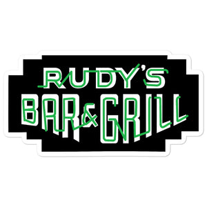 St. Patricks Day Neon Sign Sticker - Rudys Bar & Grill