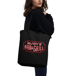 Classic Pig + Neon Black Neon Sign Tote - Rudys Bar & Grill