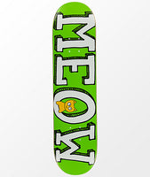 Meow Skateboards Meow Logo Green Deck 7.5