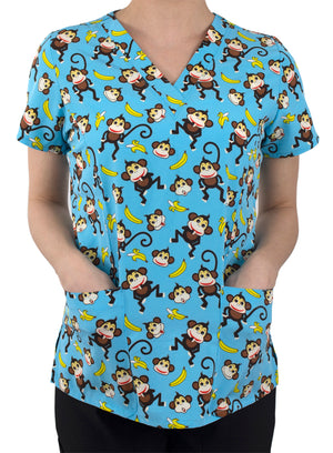Monkey Business Printed V-Neck Top Lavie Scrubs