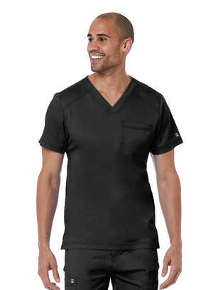 Black Men's V neck 1 chest pocket lavie scrubs maevn's matrix