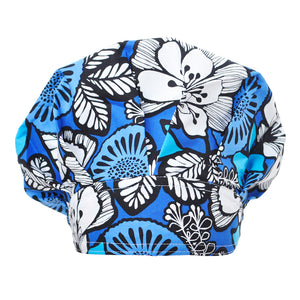 Blue Floral Scrub Cap Lavie Scrubs