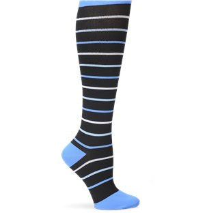 Nurse mates Black/Blue Pinstripes Compression socks