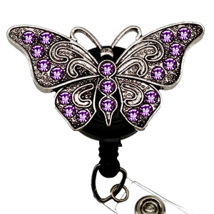 Purple Butterfly Sassy Retractable Badge Reel Lavie Scrubs