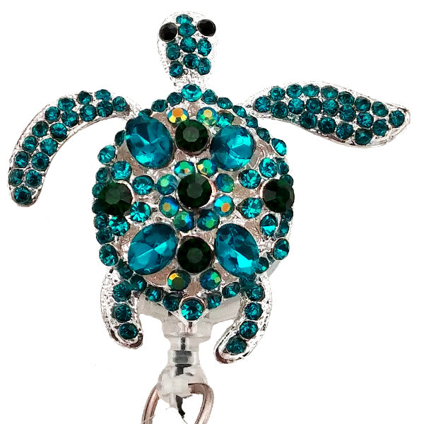 Silver Blue Sea Turtle Sassy Retractable Badge Reel