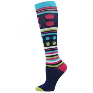 Extra Large Fashion Stripe and Dot Compression Socks Lavie Scrubs
