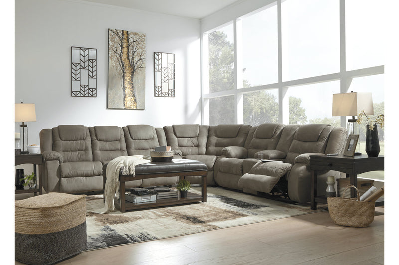 10104 McCade Cobblestone 3-Piece Reclining Sectional | 10104S1 | by Ashley | Nova Furniture