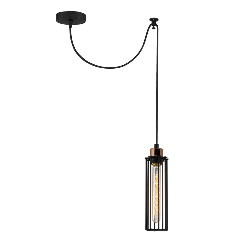 Vero 1053CLBMBLACK 1-Light Single Cylinder Pendant