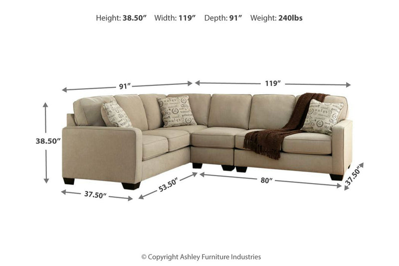 16600 Alenya Quartz 3-Piece LAF Sofa Sectional