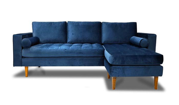 Nora Blue Velvet Reversible Sofa Chaise - Luna Furniture