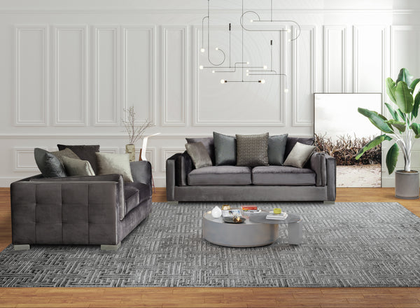 Clara Velvet Gray Sofa & Loveseat [ETA: 3/25]