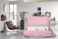 Viss Velvet Pink Queen Storage Platform Bed