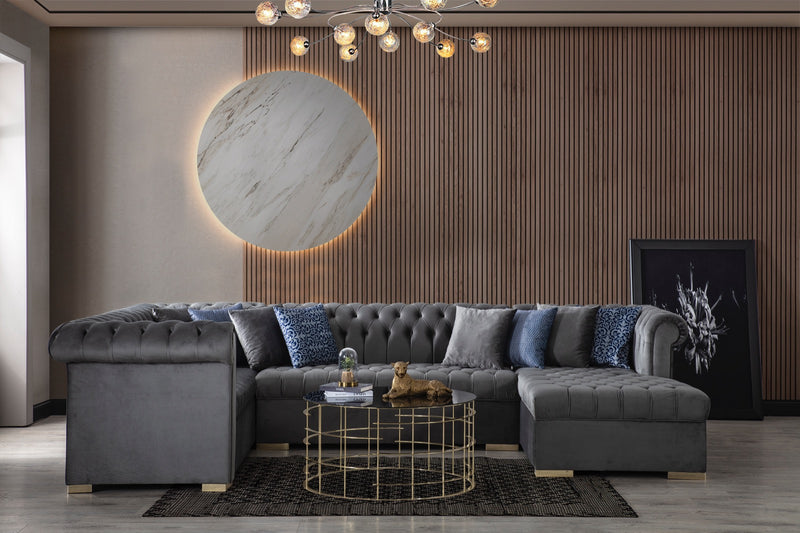Luxen Velvet Gray RAF Chaise Sectional