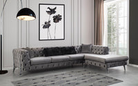 Lucca Velvet Gray RAF Chaise Sectional - Luna Furniture