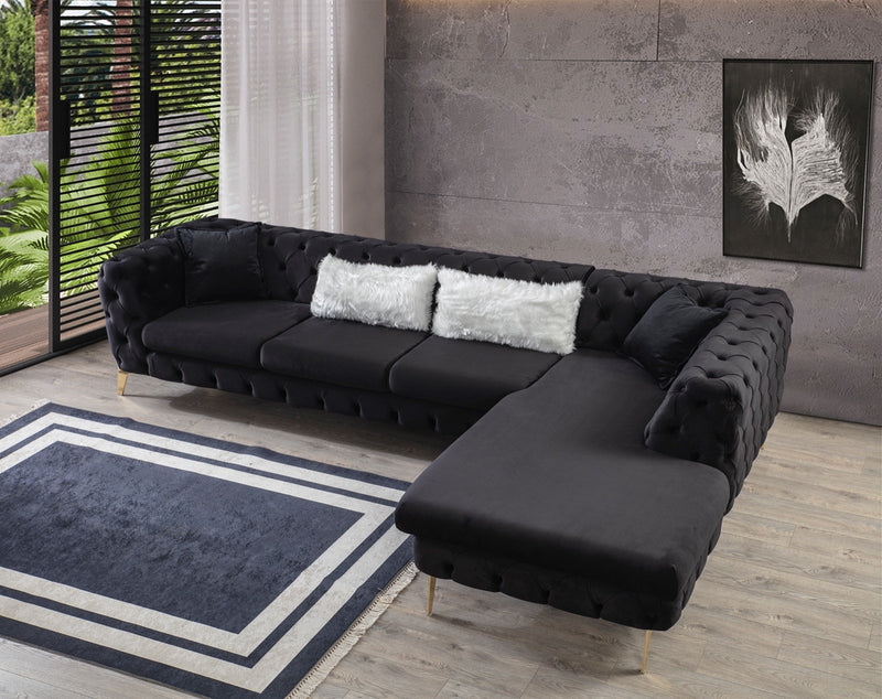 Lucca Velvet Black RAF Chaise Sectional - Luna Furniture
