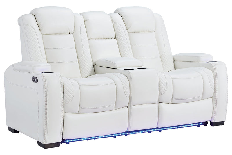 37004 Party Time White Power Reclining Sofa & Loveseat