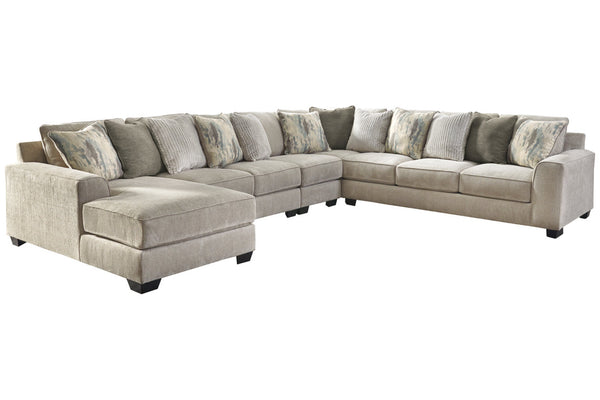 39504 Ardsley Pewter 5-Piece 7-Seater LAF Chaise Sectional