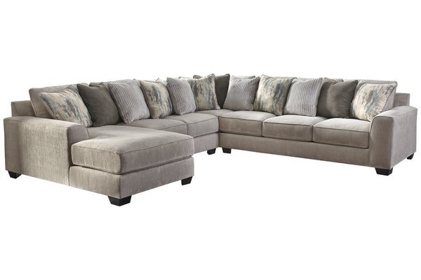 39504 Ardsley Pewter 4-Piece 6-Seater LAF Chaise Sectional