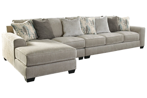 39504 Ardsley Pewter 3-Piece 5-Seater LAF Chaise Sectional