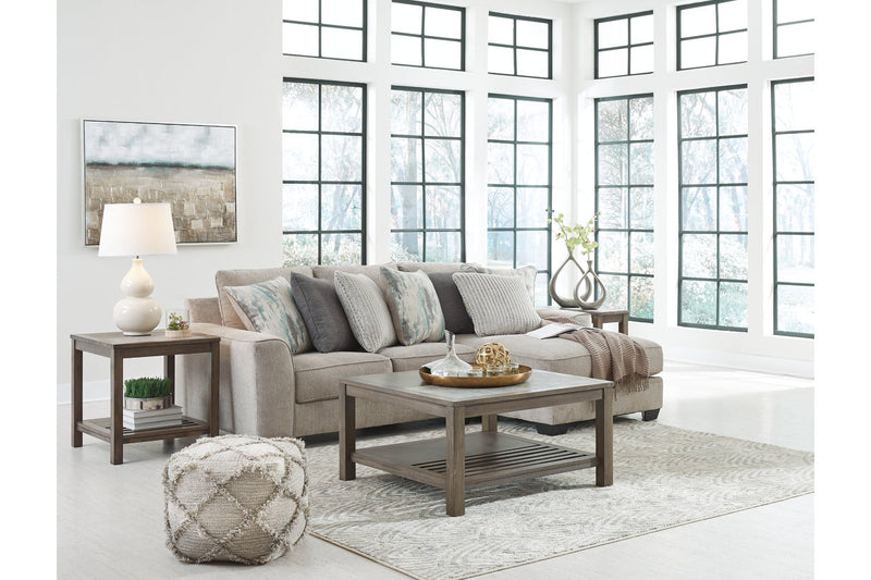 39504 Ardsley Pewter 2-Piece 3-Seater RAF Chaise Sectional