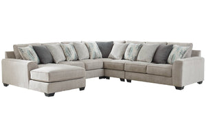 39504 Ardsley Pewter 5-Piece 6-Seater LAF Chaise Sectional