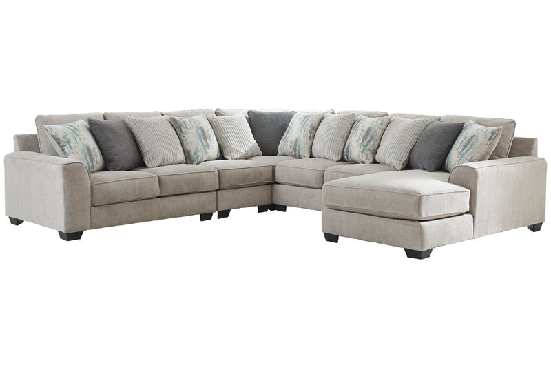 39504 Ardsley Pewter 5-Piece 6-Seater RAF Chaise Sectional