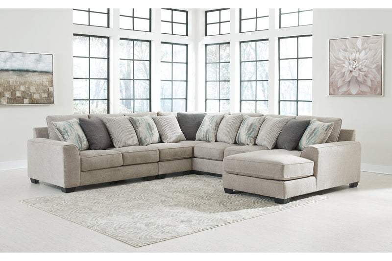 39504 Ardsley Pewter 5-Piece Sectional with Chaise | 39504S16 | by Ashley | Nova Furniture