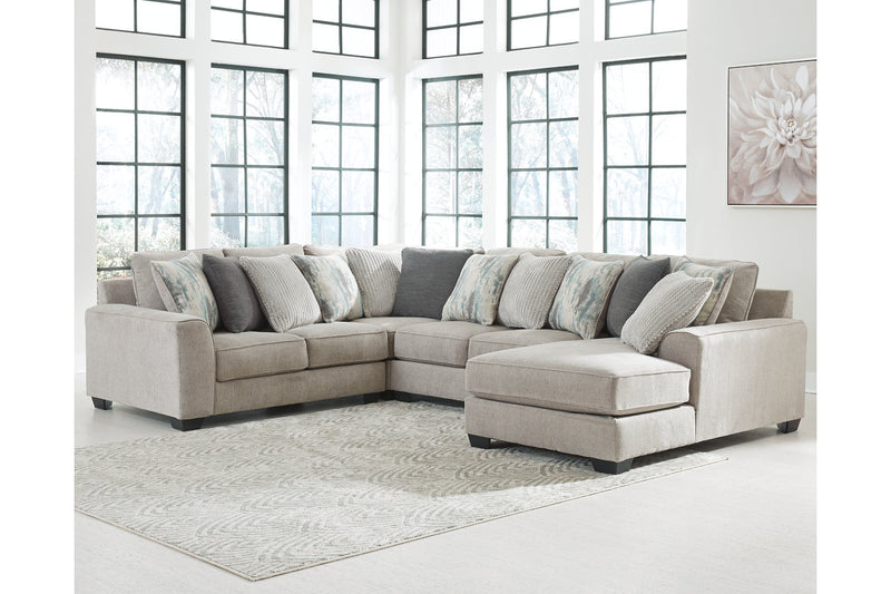 39504 Ardsley Pewter 4-Piece Sectional with Chaise | 39504S10 | by Ashley | Nova Furniture