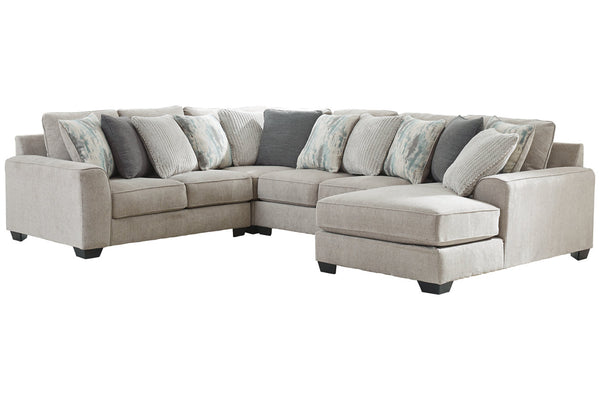 39504 Ardsley Pewter 4-Piece 5-Seater RAF Chaise Sectional
