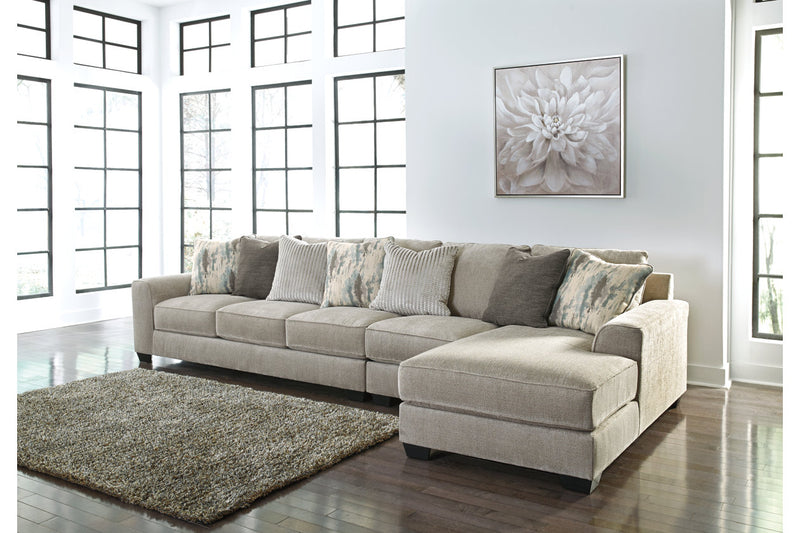 39504 Ardsley Pewter 3-Piece 5-Seater RAF Chaise Sectional