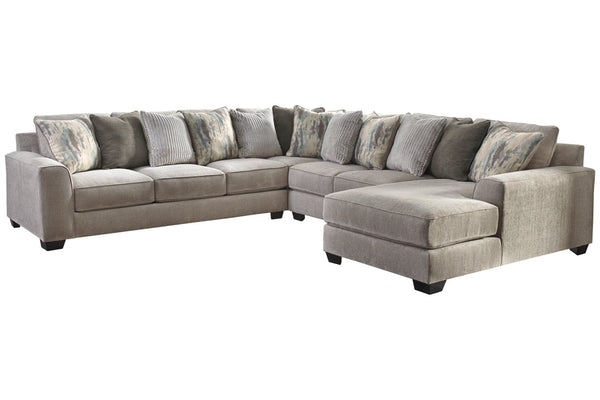 39504 Ardsley Pewter 4-Piece 6-Seater RAF Chaise Sectional