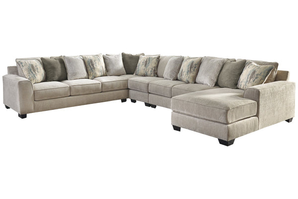 39504 Ardsley Pewter 5-Piece 7-Seater RAF Chaise Sectional