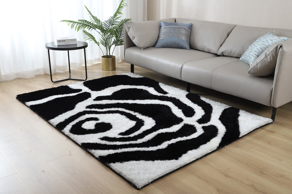 CSR2042-5X7 - Crown Shag 3D Black/White Area Rug