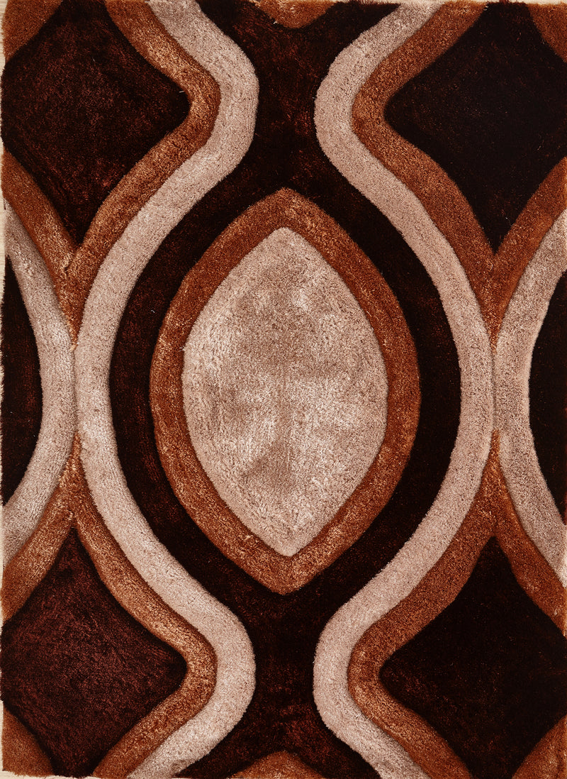 CSR2061-5X7 - Crown Shag 3D Brown/Ivory Area Rug