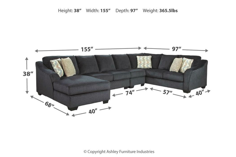 41303 Eltmann Slate 4-Piece RAF Chaise Sectional