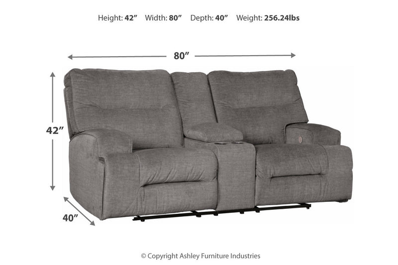 45302 Coombs Charcoal Power Reclining Sofa & Loveseat