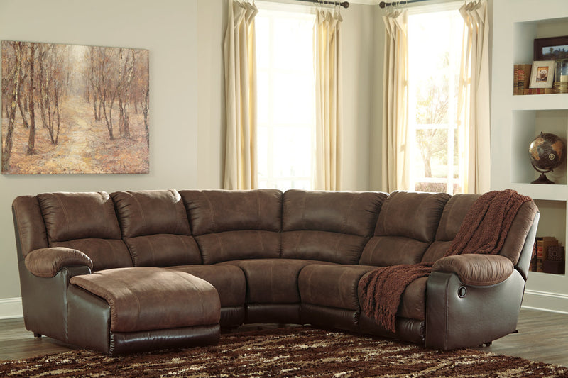 50302 Nantahala Coffee 5-Piece Reclining Sectional with Chaise | 50302S1 | by Ashley | Nova Furniture