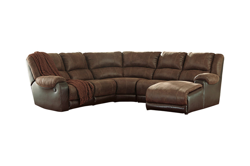 50302 Nantahala Coffee 5-Piece Reclining RAF Chaise Sectional