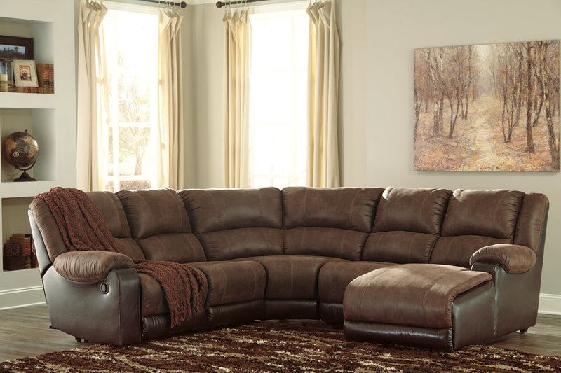 50302 Nantahala Coffee 5-Piece Reclining Sectional with Chaise | 50302S3 | by Ashley | Nova Furniture