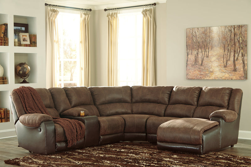 50302 Nantahala Coffee 6-Piece Reclining Sectional with Chaise | 50302S4 | by Ashley | Nova Furniture