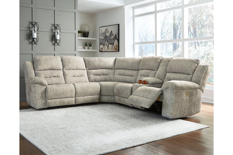 51802 Family Den Pewter 3-Piece Power Reclining Sectional | 51802S2 | by Ashley | Nova Furniture