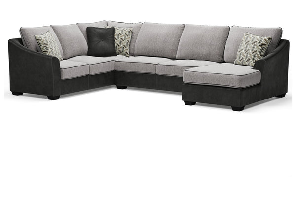 55003 Bilgray Pewter 3-Piece RAF Chaise Sectional