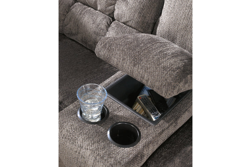 58300 Acieona Slate Reclining Sofa with Drop Down Table & Loveseat