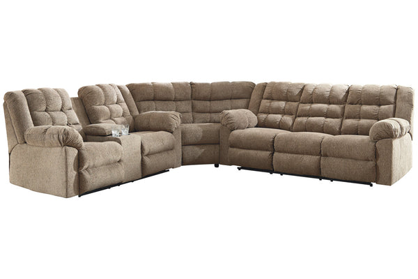58401 Workhorse Cocoa 3-Piece Reclining Sectional