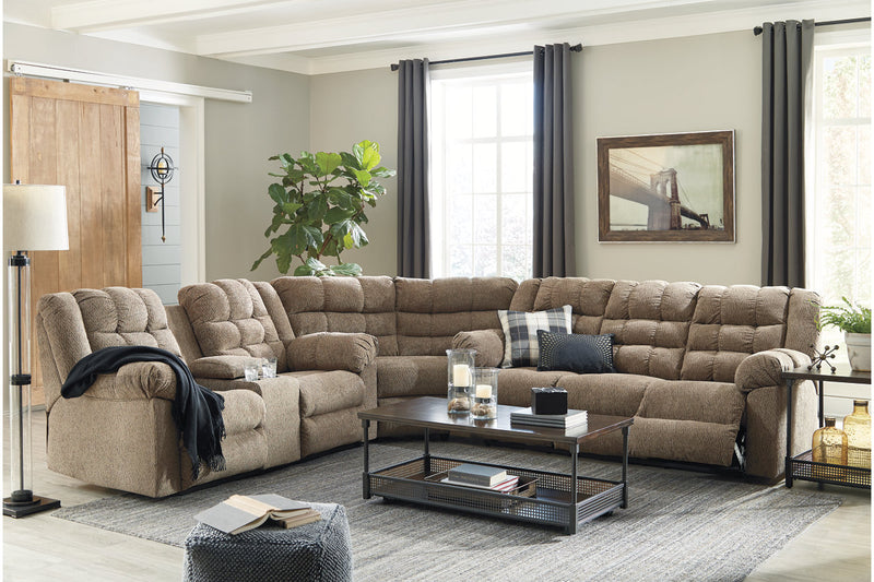 Workhorse Cocoa Reclining Sectional - Luna Furniture