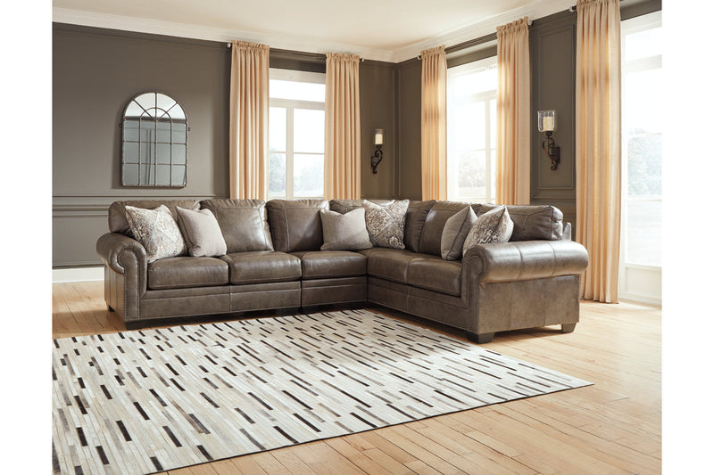 Roleson Quarry Leather RAF Sectional - Luna Furniture