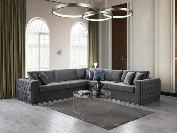 Liv Velvet Charcoal Sectional