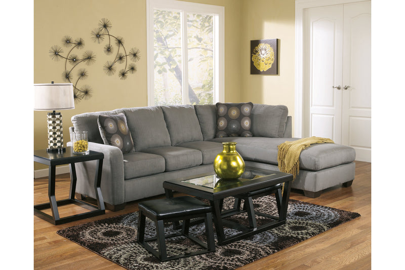 70200 Zella Charcoal 2-Piece RAF Chaise Sectional