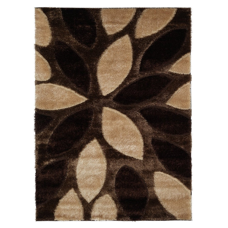 Casa Shaggy Geometric Floral Brown/Beige Area Rug - Luna Furniture