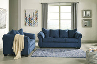 75007 Darcy Blue Sofa & Loveseat
